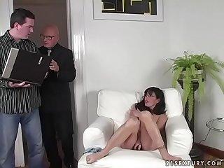Brunette milf gets fucked hard