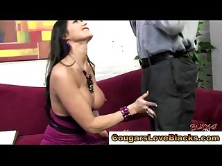 Mature Eva Karrera sucks interracial dick