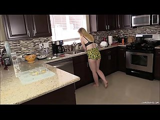 Spanking and foot worship on the counter