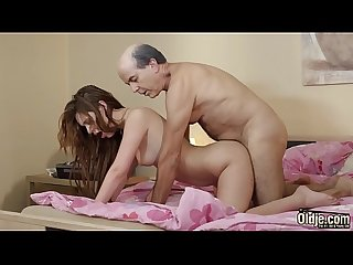 Hot young girl takes cum in mouth has her wet pussy fucked by grandpa
