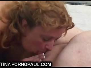 Bbw sucks fat guys tiny penis