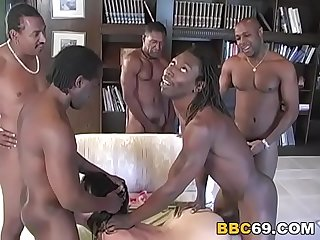 Anal Whore Busty Michelle Has Interracial Orgy