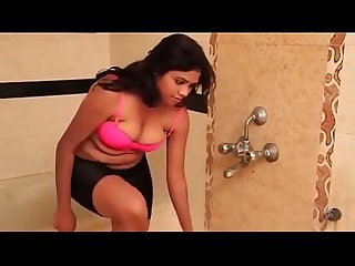 Hot indian Desi Aunty shows big boobs in bathroom