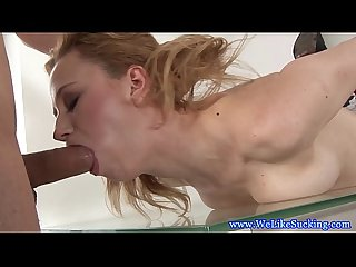 Dicksucking loving blonde giving brain