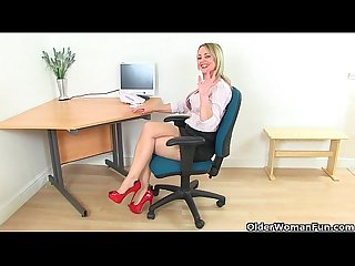 British milf sofia masturbates at the office