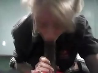 White slut thanked me for letting her suck my bbc