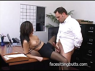Horny Office slut in stockings sucks like A pro excl