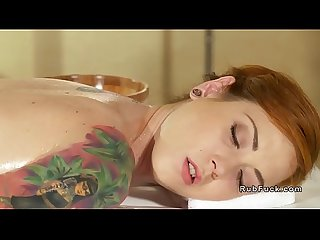 Asian masseuse and redhead lesbian client