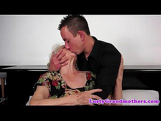Hairy grandma titfucked before cumplaying
