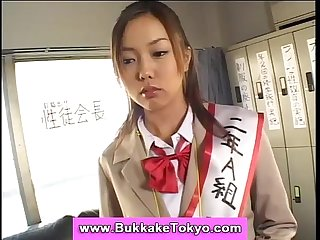 Cum covered japanese bukkake girl