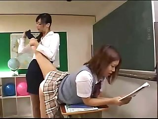 Japanense teacher licks her students foot and sucks her little pussy