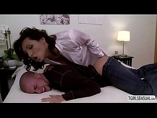 Busty tgirl jessy Dubai fingers and fucks eli hunter in the ass bareback