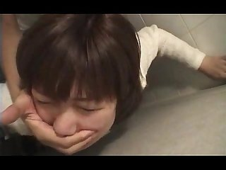 Jap teeny grabbed and nailed hard in her slit in mens room