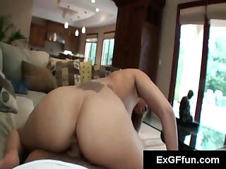 Skanky looking college slut shows off her moves while riding a hard cock in pov