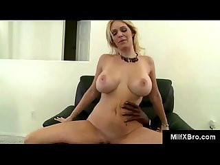 Mature mommy rides black rods dick so fast her tits bounce up and down