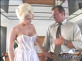 Horny Alicia sits on a massive tool
