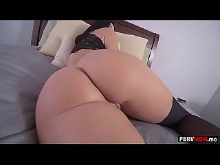 My stepmom MILF Becky Bandini surprised me in hot lingerie
