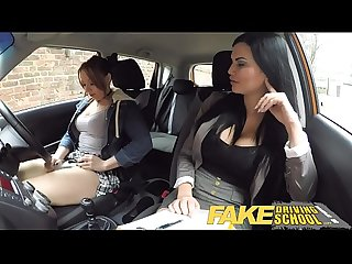 Fake driving school daddys girl fails her test with strict busty mature examiner