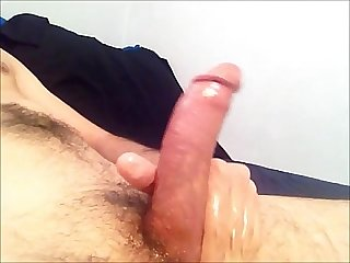 Masturbating massaging my Dick with oil cumming