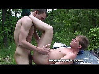 Two handsome twinks getting randy in car and ass fuck outdoors
