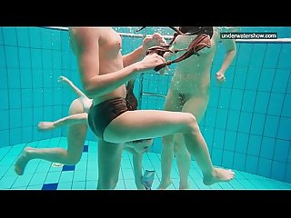 3 nude girls have fun in the water