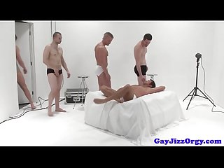 Cumshot loving jock in group sucking on dick