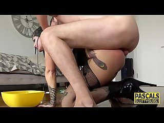 Submissive goth throated and anally fucked