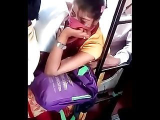 Cute village girls boob press in bus by narshingbari