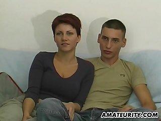 Young amateur couple fisrt blowjob on camera