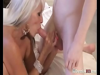 Super hot gilf blonde forces A Young sissy boy to Fuck her