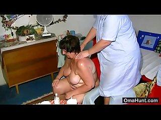 Caretaker scrubs fat hairy granny
