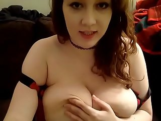 Huge tits babe teasing webcam