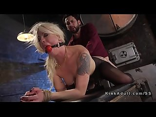 Busty blonde anal banged in bondage
