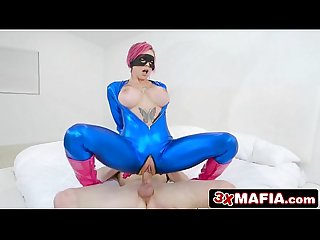 Busty comic book fan anna bell peaks tries superhero cosplay sex