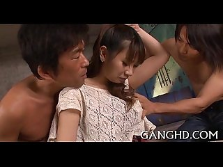 Stimulating group fucking for oriental