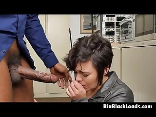 Brunette Teen With Short Hair On Her Knees Sucking Big Black Knotty Cock