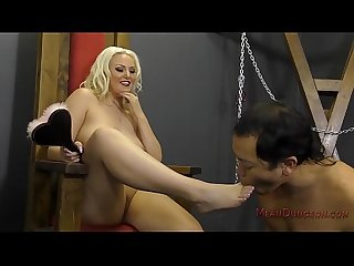 Blonde bombshell makes her slave worship her Jenna ivory
