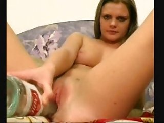 young girl masturbating with bottle