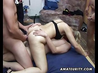 Amateur group sex 2 chicks and 4 dicks