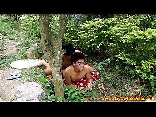 Gaysex ethnic Twink fucked outdoors