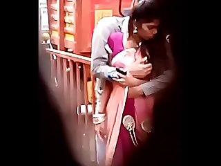 Indian Lovers smooching and pussy press in public