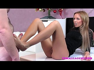 Femaleagent bad santa gets A great casting foot job