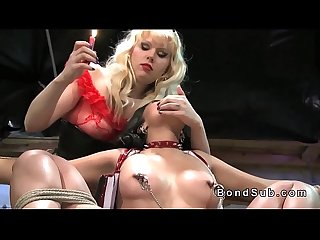 Beautiful slave in bdsm vibrated through speculum