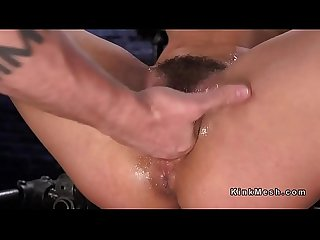 Hairy squirter fingered in device bondage