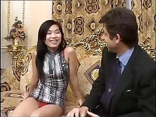 A young sensual asian girl is about to meet a huge black cock!