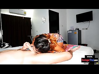 Hot Asian MILF massages his back and his big European cock