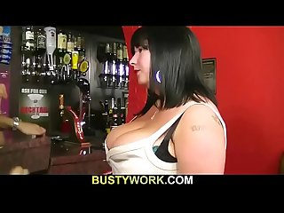 Big boobs barmaid doggy slammed at work