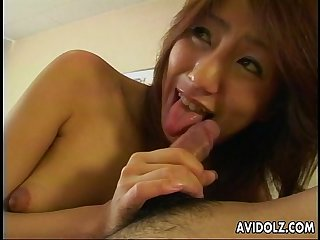 Asian slut suck on the dick and gets toyed