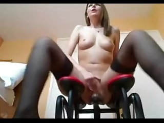 Ashley rides sex machine rubs clit and squirts damncam period net