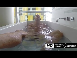Johnny sins playing with his huge dick in the bathtub